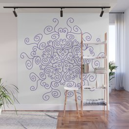 Purple Line Swirl Mandala Wall Mural