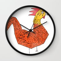 rooster Wall Clocks featuring rooster by Matt Edward