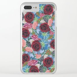 Garden Bouquet  through Stained Glass Clear iPhone Case