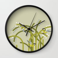tits Wall Clocks featuring Three Great Tits vector illustration by GA Studio