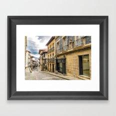 Historic town street Framed Art Print