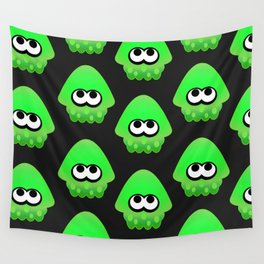 Splatoon Squid Pattern Green Wall Tapestry