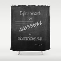 woody allen Shower Curtains featuring Woody Allen Quote by AngeKing