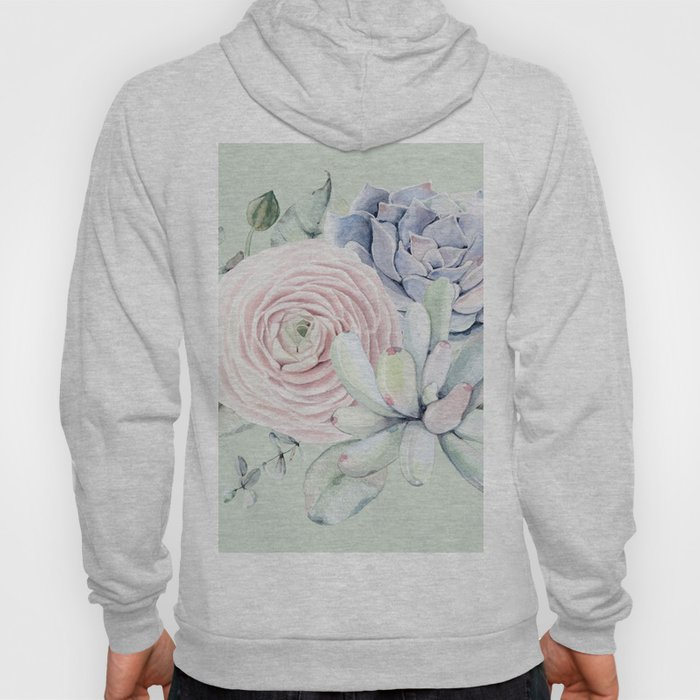 Mint Green + Pink Delight Succulents Hoody