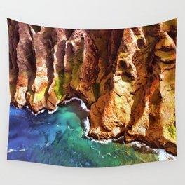 Tropical Coastline Hawaii of the Isolated Napali Coast Wall Tapestry