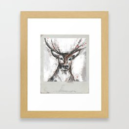 Deer, Christmas Art, Stag Painting Framed Art Print