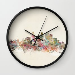 minneapolis city skyline Wall Clock