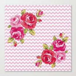 Roses on geometric pattern Canvas Print