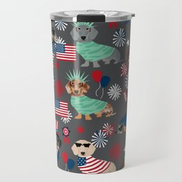 Dachshund july 4th patriotic dog breed pattern doxie dachsie lovers america Travel Mug