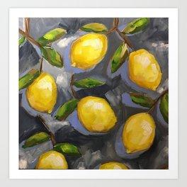 Lemons on Blue iphone cover Art Print