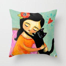 Black Cat Hug sweet painting by artist Tascha Throw Pillow