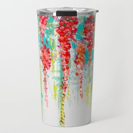 Coral flowers painting, cascading Flower, Floral Art abstract Travel Mug