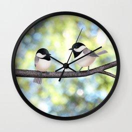 2 black-capped chickadees - bokeh Wall Clock
