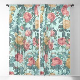 Spring-Summer Botanical Pattern II Sheer Curtain