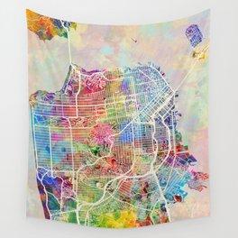 San Francisco City Street Map Wall Tapestry