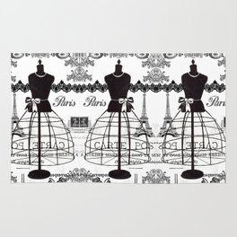 Vintage black white Paris French dress mannequin pattern Rug