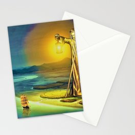 The Guiding Light, magical realism river landscape painting Stationery Cards