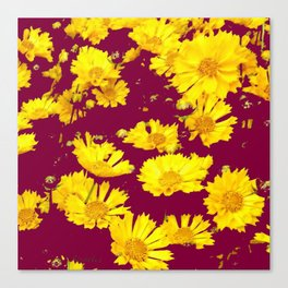 BURGUNDY-YELLOW  FLORAL COREOPSIS  PATTERN ART Canvas Print