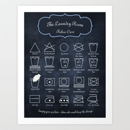 The Laundry Room Fabric Care Guide - Blue Art Print