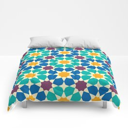 Moroccan pattern, Morocco. Patchwork mosaic with traditional folk geometric ornament Comforters