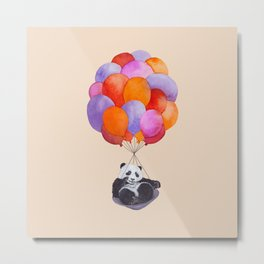 Panda flying with balloons Metal Print
