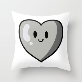 Gray Heart (Valentines Edition) Throw Pillow