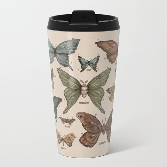 Butterflies and Moth Specimens Metal Travel Mug