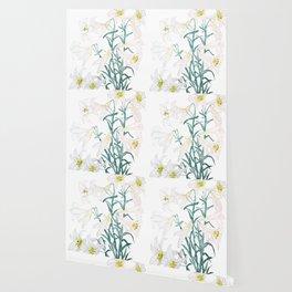 white lily branch watercolor Wallpaper