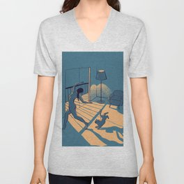 Dancing with the cat   Blue Moody sunset light and shadows Aesthetic room   Naked dance Femme Fatale Unisex V-Neck