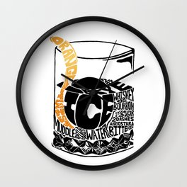 Old Fashioned Cocktail Recipe Letterpress/Linoleum cut design by BirdsFlyOver Wall Clock