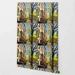 Cobble Hill Brooklyn New York in the Fall, Brownstones Wallpaper