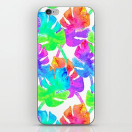 Watercolor Monstera Leaves in Neon Rainbow + White iPhone Skin