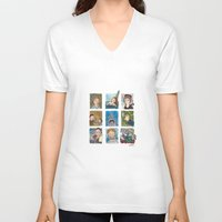 jaws V-neck T-shirts featuring Jaws by Steven Learmonth
