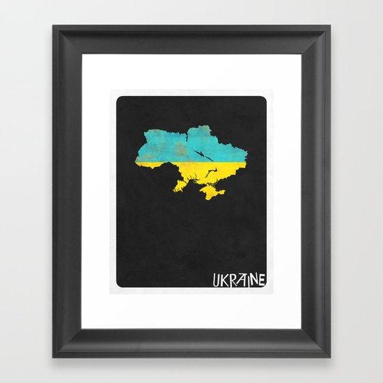 Ukraine Minimalist Vintage Map with Flag Framed Art Print