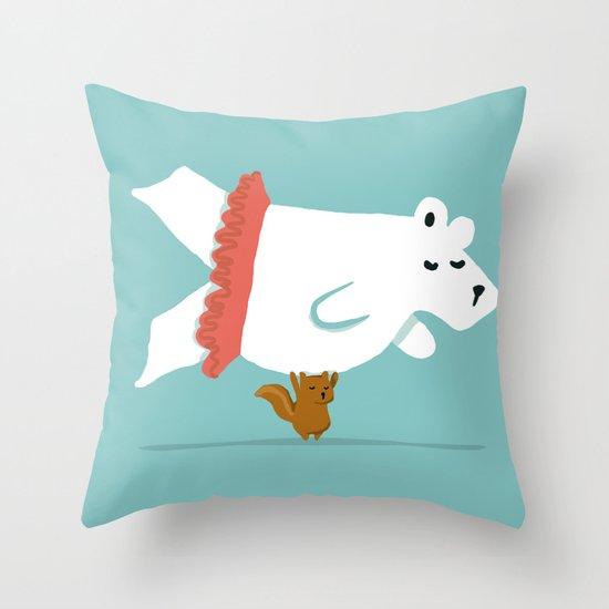 You Lift Me Up - Polar bear doing ballet Throw Pillow