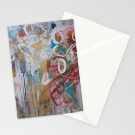 Playing in the Garden - Abstract Modern Contemporary Flowers Stationery Cards