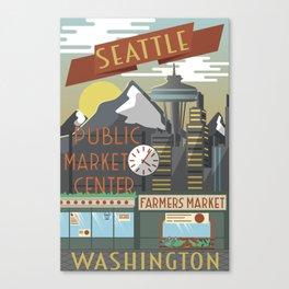 Seattle Washington Retro/Vintage Poster Art Canvas Print