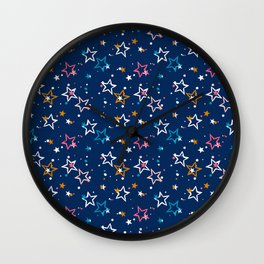 Night sky with colorful stars and dots on blue background Wall Clock