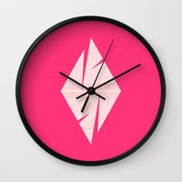 typo Wall Clocks featuring typo by Adrianna Bykowska