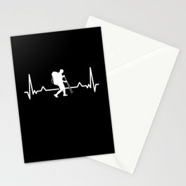 Hiking Hiker Heartbeat Line Funny Gift Stationery Cards
