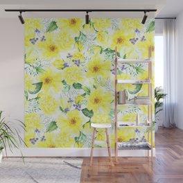 watercolor pattern yellow roses Wall Mural