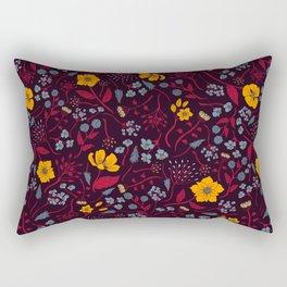 Mustard Yellow, Burgundy & Blue Floral Pattern Rectangular Pillow