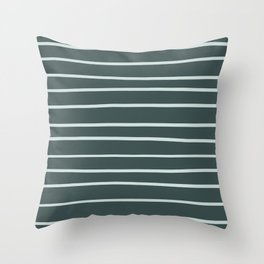Cave Pearl Light Mint Green PPG1145-3 Hand Drawn Horizontal Stripes on Night Watch PPG1145-7 Throw Pillow