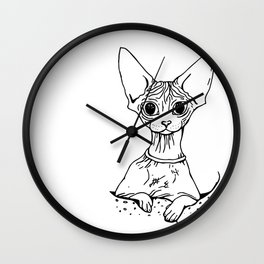 Big Eyed Pretty Wrinkly Kitty - Sphynx Cat Illustration - Nekkie - Cat Lover Gift Wall Clock