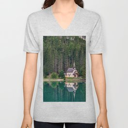 Chapel and trees are reflected in the water of Lake Braies Unisex V-Neck