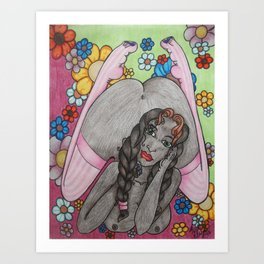 Flowers and Stockings Art Print