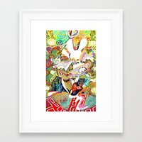 dangan ronpa Framed Art Prints featuring attack on ronpa by ESCL
