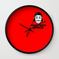 anonymous Wall Clocks featuring Anonymous by Tony Vazquez