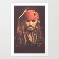 jack sparrow Art Prints featuring Jack Sparrow Digital Painting by Visionary Creations