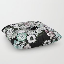 Colorful black detailed floral pattern Floor Pillow